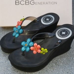 BCBGeneration Black Jeweled Sandals
